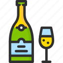 bottle, champagne, christmas, glass, new, xmas, year icon