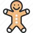 bread, christmas, ginger, man, new, xmas, year icon