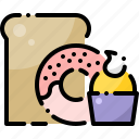 bakery, bread, cupcake, dessert, donut, muffin, sweets icon