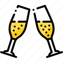 celebration, champagne, cheers, holiday, meal, party, toast icon