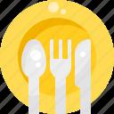 cutlery, dish, eat, fork, kitchen, knife, restaurant icon
