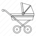baby, carriage, child, line, outline, pram, wheel icon