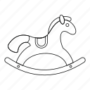 horse, line, outline, play, toy, wood, wooden icon