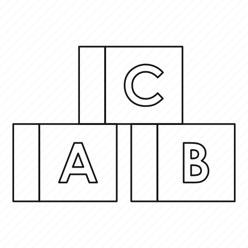 alphabet, block, cube, letter, line, outline, toy icon