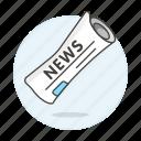 editorial, news, newspaper, newsprint, paper, press, roll, subscription icon