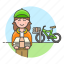 bicycle, bike, delivery, female, news, newspaper, papergirl, press, route, stack, subscription icon