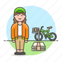 bicycle, papergirl, news, newspaper, press, route, stack, subscription, female, delivery, bike icon