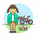 stack, bike, bicycle, news, press, female, papergirl, newspaper, subscription, delivery, route icon