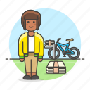 bicycle, papergirl, news, newspaper, press, 2, route, stack, subscription, female, delivery, bike icon