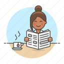 coffee, cup, female, morning, news, newspaper, press, reading, subscription icon