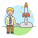 1, broadcasting, journalist, launch, male, news, reporter, rocket, spacecraft, television, tv icon