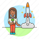1, broadcasting, female, journalist, launch, news, reporter, rocket, spacecraft, television, tv icon