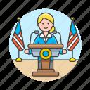 news, spokesperson, spokesman, nominee, podium, spokeperson, female, rostrum, candidate, speech, speak
