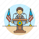 candidate, male, news, nominee, podium, rostrum, speak, speech, spokeperson, spokesman, spokesperson