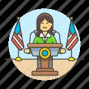 candidate, female, news, nominee, podium, rostrum, speak, speech, spokeperson, spokesman, spokesperson
