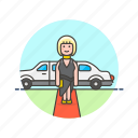 actress, carpet, ceremony, limo, news, red, woman icon