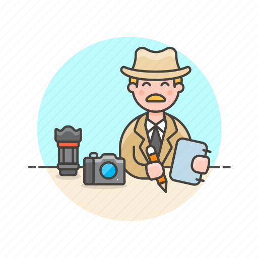 investigate, journalist, man, news, notes, photograph, report icon