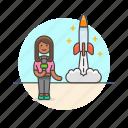 news, reporter, broadcast, press, rocket, space, woman