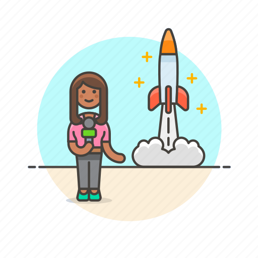 broadcast, news, press, reporter, rocket, space, woman icon