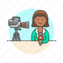 news, reporter, broadcast, live, media, woman, camera