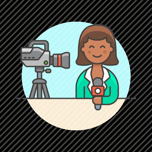 broadcast, camera, live, media, news, reporter, woman icon