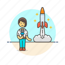 news, reporter, broadcast, rocket, space, woman, launch
