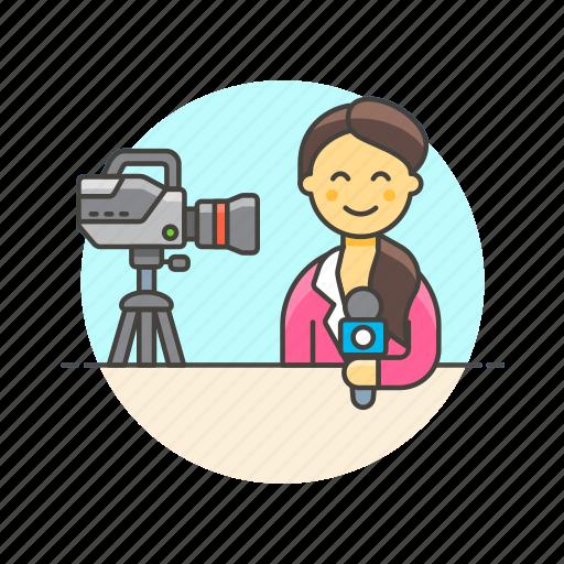 broadcast, live, media, news, reporter, speak, woman icon