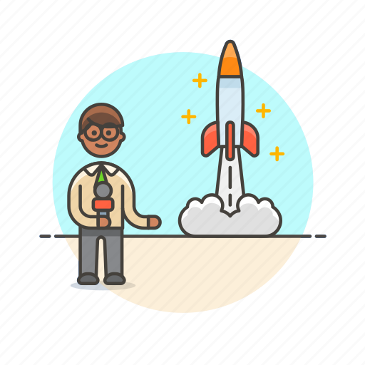 broadcast, launch, man, news, reporter, rocket, space icon