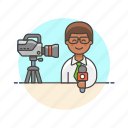 camera, live, man, news, press, reporter, stream, talk icon