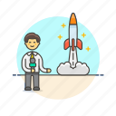 news, reporter, broadcast, man, rocket, space, launch
