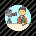 news, reporter, broadcast, camera, live, man, stream