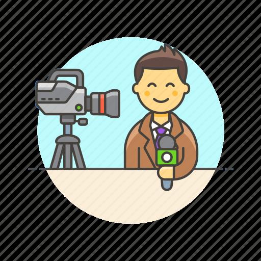 broadcast, camera, live, man, news, reporter, stream icon