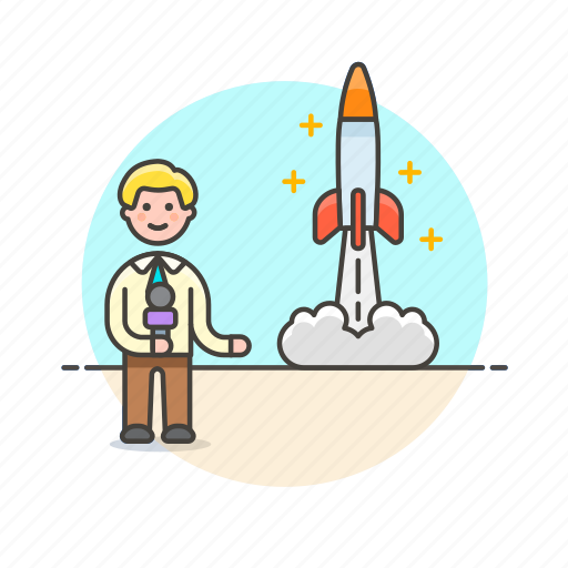 broadcast, man, news, report, reporter, rocket, space icon