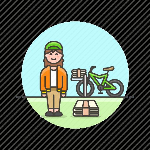 bike, delivery, job, media, newspaper, transport, woman icon