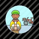 delivery, newspaper, bike, job, man, media, transport