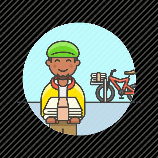bike, delivery, job, man, media, newspaper, transport icon