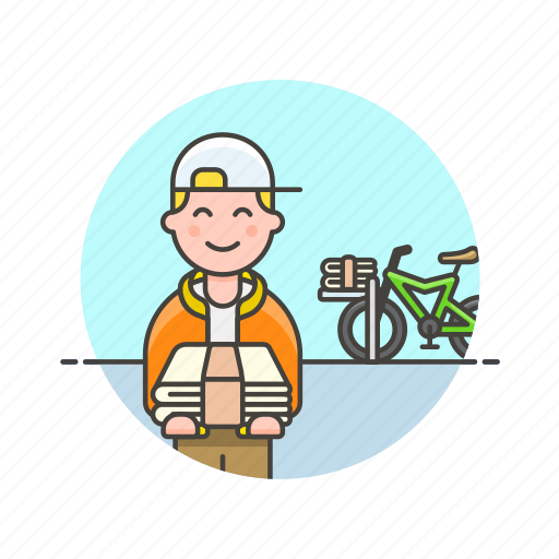 bike, delivery, job, man, newspaper, press, transport icon