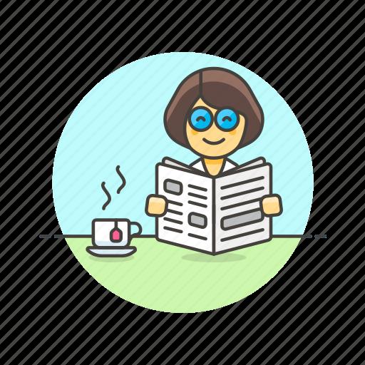break, coffee, newspaper, read, rest, tea, woman icon