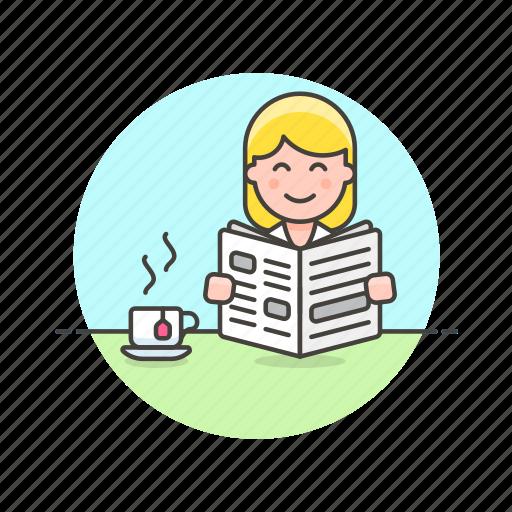break, coffee, cup, drink, media, newspaper, read, woman icon
