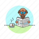 newspaper, break, coffee, media, read, rest, man