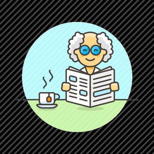 break, coffee, man, media, newspaper, pause, read icon