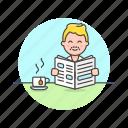 caucasian, male, news, newspaper, reading icon