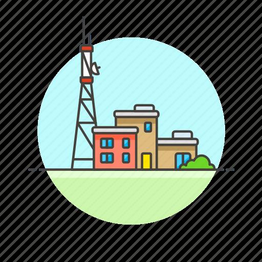 antenna, base, building, news, radio, signal, station icon