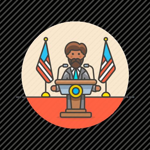news, press, speech, spokesman, talk, usa icon