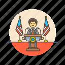asian, news, spokesman icon