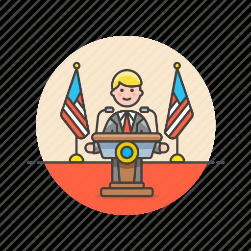 news, press, public, speech, spokesman, usa icon