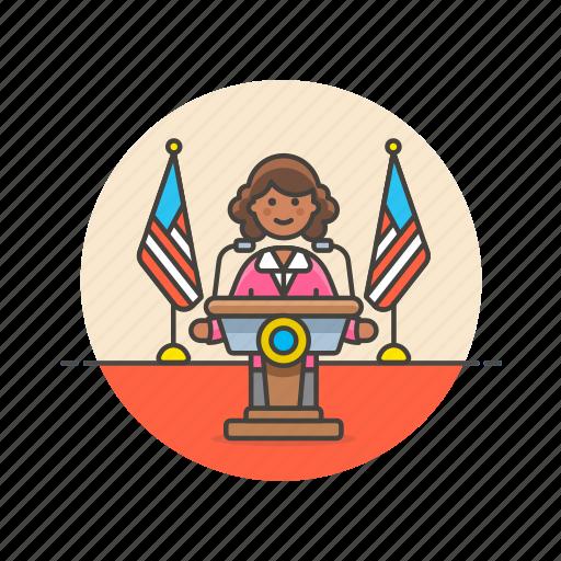 media, news, press, speech, spokeswoman, talk, usa icon