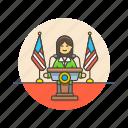businesswoman, news, press, public, speech, spokeswoman, talk, usa icon
