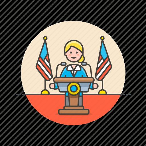 media, news, press, public, speech, spokeswoman, usa icon