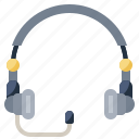 customer, electronics, headphones, microphone, service, support, telemarketer icon
